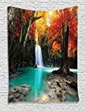 Ambesonne Waterfall Decor Collection, Deep Forest Waterfall Runoff Autumn Forest Image Pattern, Bedroom Living Kids Girls Boys Room Dorm Accessories Wall Hanging Tapestry, Paprika Turquoise Ivory
