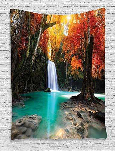 Redhead 5 Pocket (Ambesonne Waterfall Decor Collection, Deep Forest Waterfall Runoff Autumn Forest Image Pattern, Bedroom Living Kids Girls Boys Room Dorm Accessories Wall Hanging Tapestry, Paprika Turquoise Ivory)