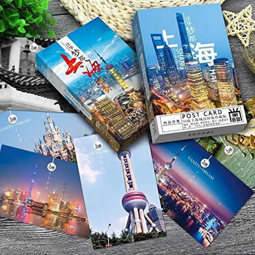 China Postcard - Set of 36 Assorted China City Postcards Collection Variety Pack City Theme Self Mailer Mailing Side Postcards 36 Different Designs, 36 Pack Postage Saver - 4 x 6 Inches (Shanghai-01)