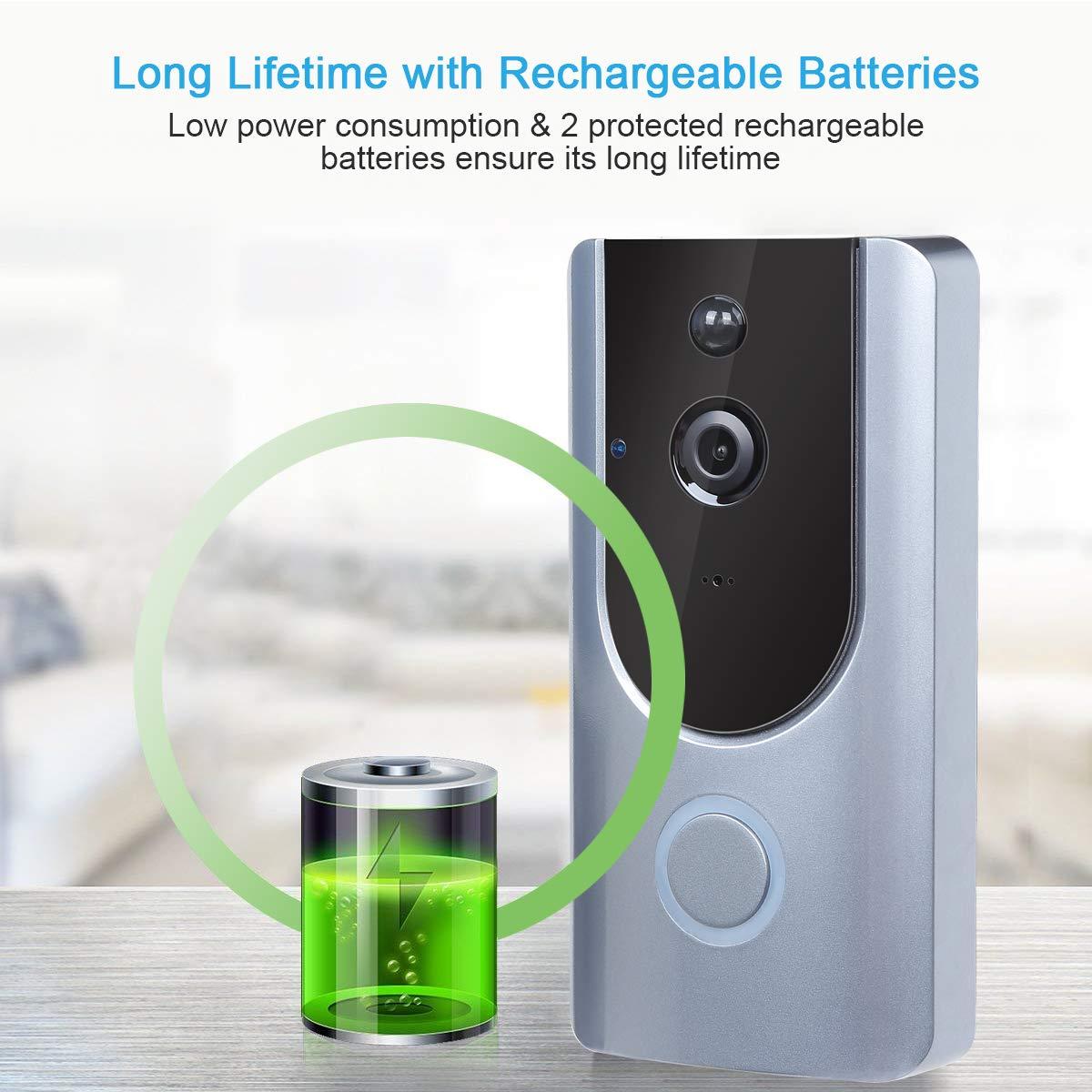 Hixon Sonnette Video sans Fil Exterieur WiFi HD Syst/ème Audio avec Bidirectionnel D/étection de Mouvements et Carte 16G et Indicateur de Charge