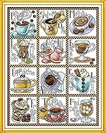 Vorbedruckte Stickpackung CAFE\' ZEIT 48x61 cm 11Ct Aida Kreuzstich ...