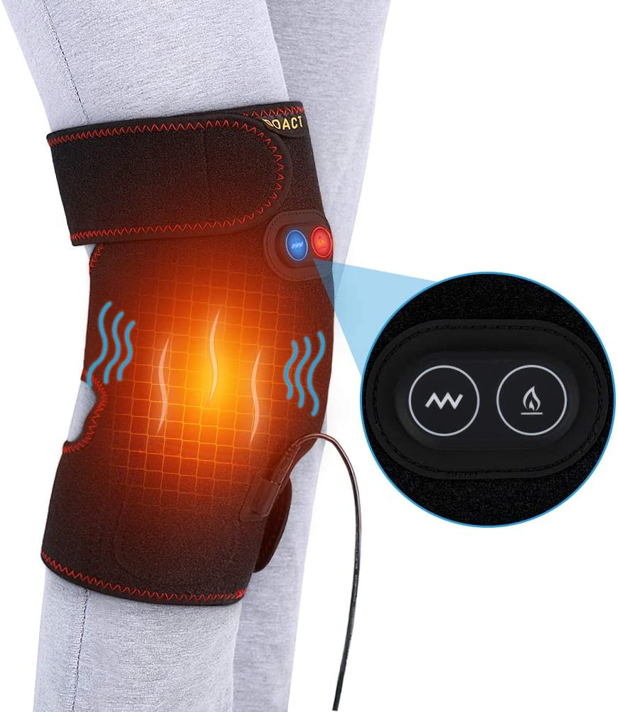 Heating Pad Knee with Motor Massage, Heat Knee Wrap Support for Hot Cold Threapy, Adjustable Knee Joint Warmer for Arthritis Cramps Stiff Muscles Pain Relief, Fits Men Women