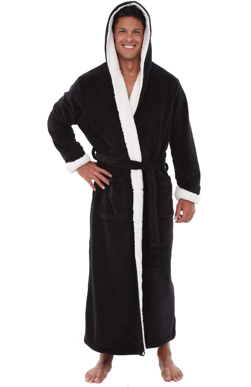 Details about Mens Fleece Robe Long Hooded Bathrobe Sizes 3XL 4XL e21b72829