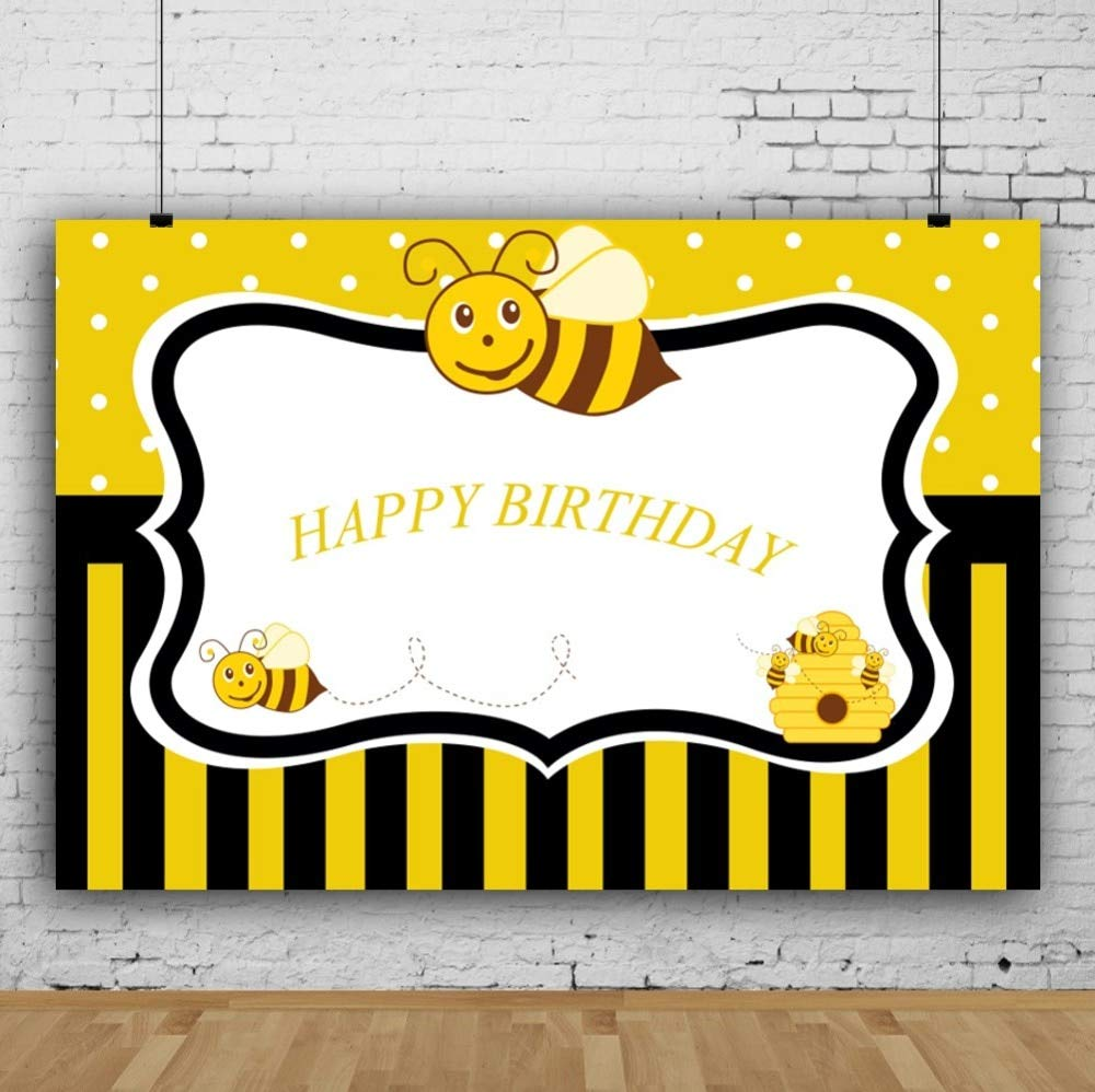 Birthday Poster Mehofoto Bee Baby Birthday Party Black Stripes Poster Portrait Graphic Sbackdrops Callstudio
