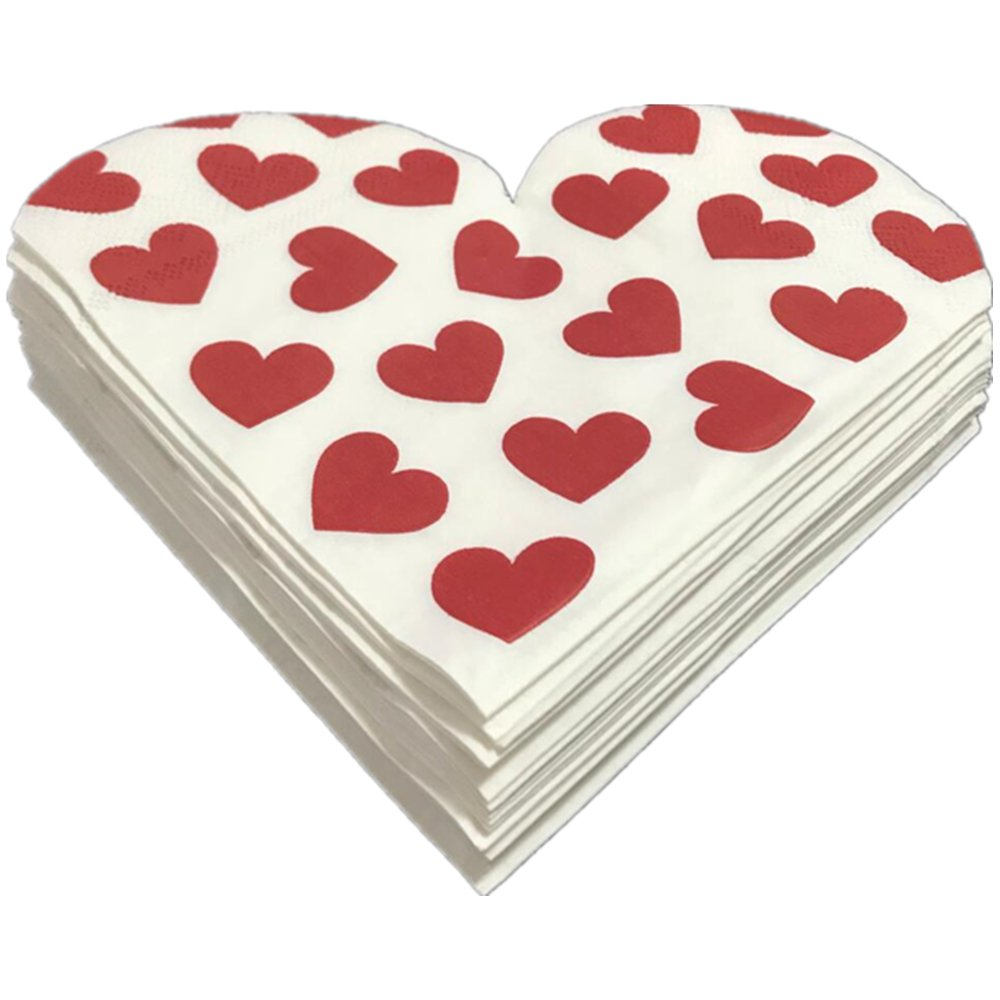 Paper Cocktail Red Heart Love Napkins,Heart-Shaped,Party Supplies Beverage Napkins For Wedding,Birthday,Dinner,Lunch,Folded 6.5x6.5 Inches,Pack Of 100
