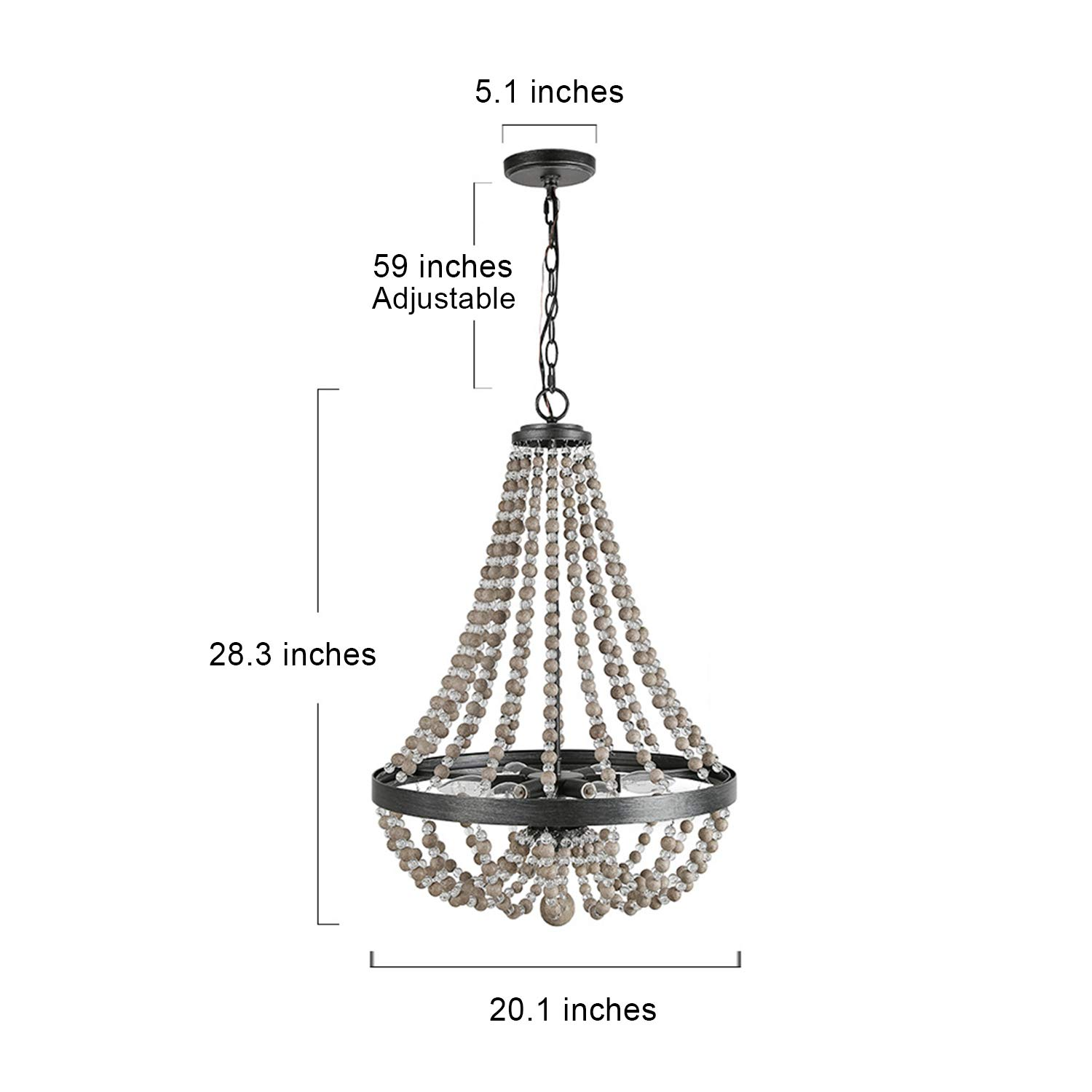 LALUZ 6-Light Wood Bead Empire Chandelier, Pendant Lighting Fixture for Kitchen Island, Natural Wood Beads, 28.3''H x 20.1''W by LALUZ (Image #3)