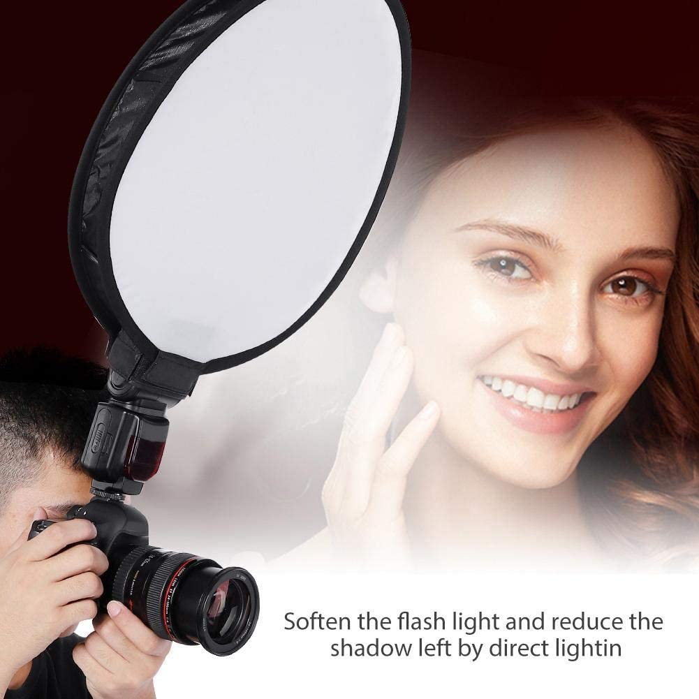 40CM Portable Foldable Detachable Round-Shape Nylon Speedlite Softbox Diffuser Photography Accessory with Storage Bag,for Camera Flash Light,External Speedlite Serounder Universal Softbox Diffuser