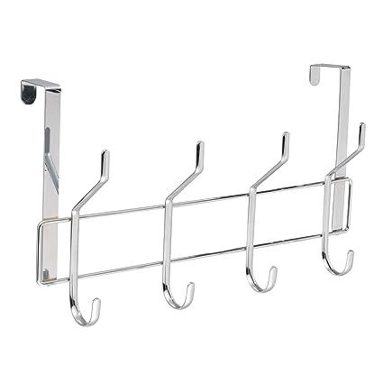 8 Hook Chrome Over Door Coat Hanger Towel Clothes Hanging Bathroom Storage Rack Heron
