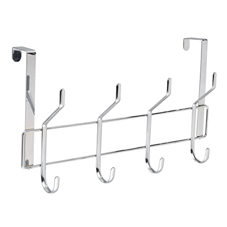8 Hook Chrome Over Door Coat Hanger Towel Clothes Hanging Bathroom Storage  Rack (Heron)