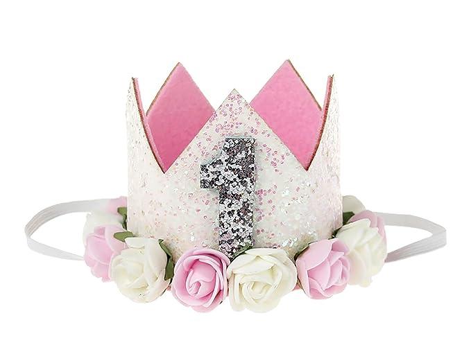 UK Baby Girl 1st /& 2nd Birthday Party Hat Flower Crown Headband Hairband Tiara
