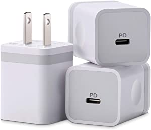 ARCCRA iPhone 12 Charger, 20W USB C Charger Power Adapter PD Fast Charger Block for iPhone 12 Mini/12 Pro Max and More (3-Pack)