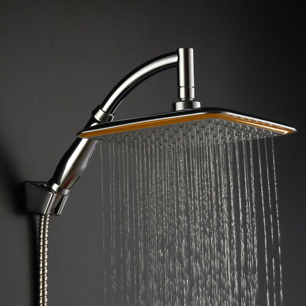 Littleduckling Rainfall Shower Heads 8 inch High Pressure 360° Swivel Joint Square Bathroom Top Sprayer with Bracket Holder Shower Hose