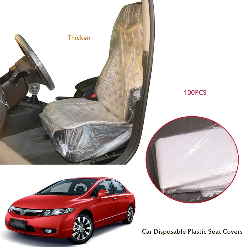 100Pcs Anti-Dirty Dust-Proof Car Disposable Thicken Plastic Seat Covers Seat Cover