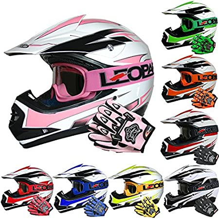 Leopard LEO-X16 Kids Motocross HELMET & GLOVES & GOGGLES (Blue XL) Children Quad Bike ATV Go Karting Helmet Touch Global Ltd