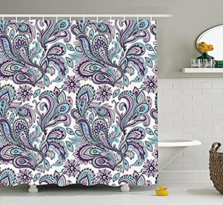 Mirryderr Paisley Shower Curtain Set Blue And Purple Large Flowers Leaves Floral Pattern Bohemian Style Country Print Fabric Bathroom Decor With Hooks