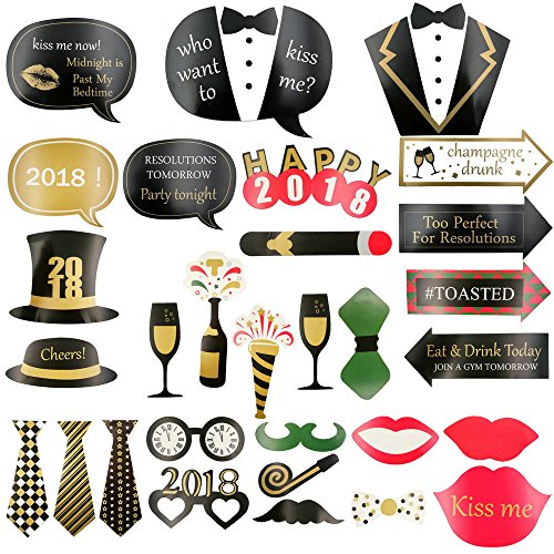 GOER 38Pcs Photo Booth Props for 2018 Graduation Birthday New Year Festival Party Supplies