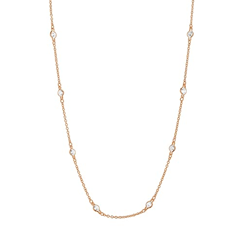 Vintage Style Jewelry, Retro Jewelry MIA SARINE Sterling Silver Bezel Set CZ By the Yard Station Chain Necklace for Women (Various Styles) $69.99 AT vintagedancer.com