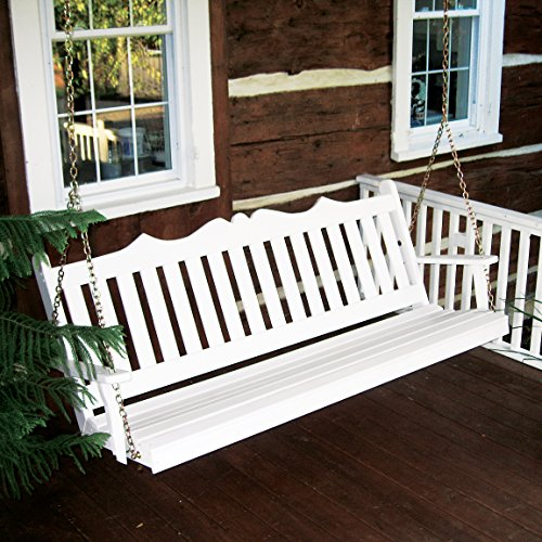 Dress the Yard Royal English Amish-Crafted Yellow Pine Porch Swing (4 Foot, White)