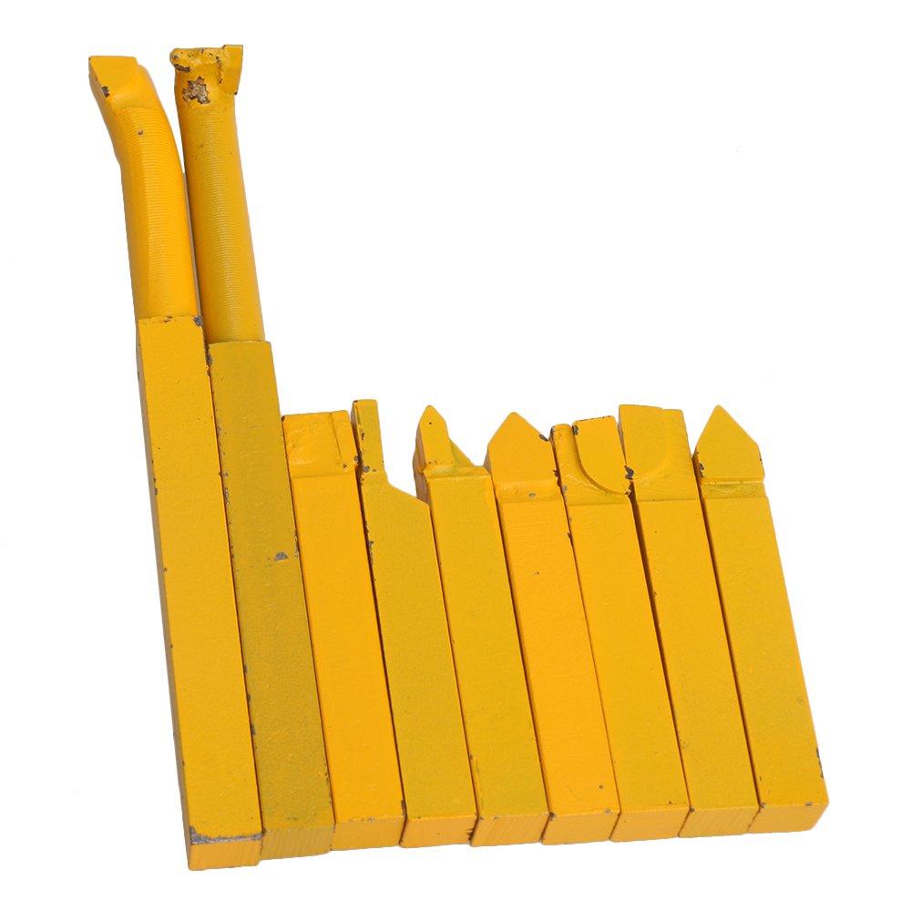 BQLZR 10x10mm V/ástago Cuadrado Torno de Hierro Amarillo Soldadura de Carburo Torcido Herramientas con YW1 Aleaci/ón Herramienta Bit Paquete de 9