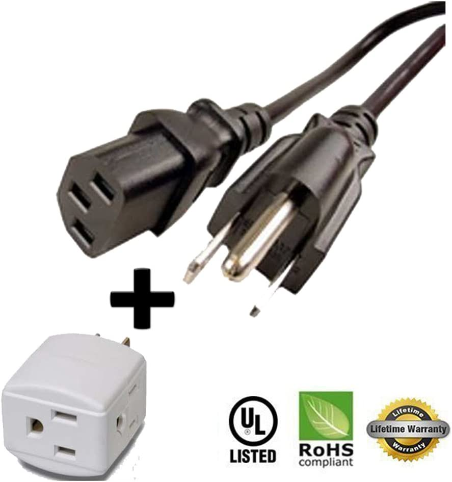 3 Way Cube Tap Huetron 5ft Power Cord for scooter power cord charger invacare revo rally go go elite golden cable wire