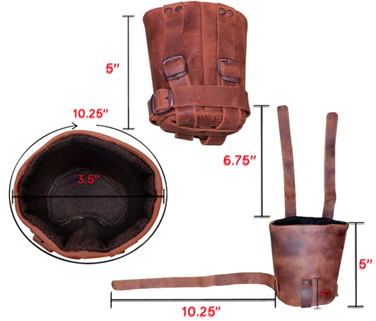 Hide & Drink, Cruzy Leather Bike Cup Holder, Handle Bar for Commuters and Bikers Handmade :: Bourbon Brown by Hide & Drink