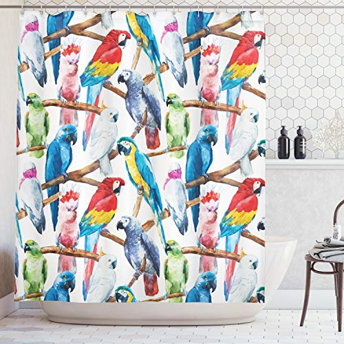 Ambesonne Parrots Decor Collection, Colorful Parrots on Tree Branches Exotic Jungle Watercolor Painting Effect Illustration, Polyester Fabric Bathroom Shower Curtain, 84 Inches Extra Long, Cobalt ()