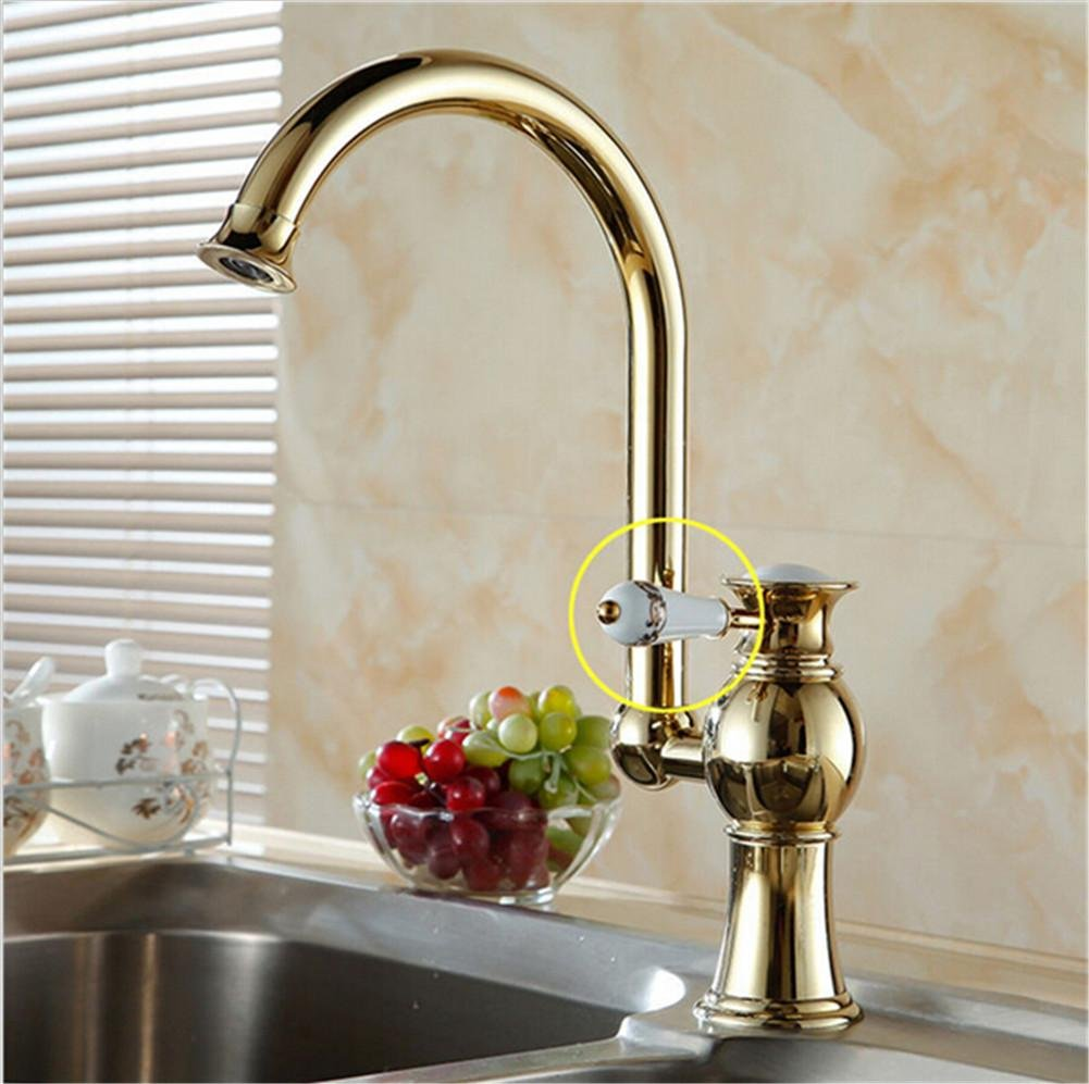 HomJo Luxury Golden brass kitchen faucets tap single hand hot and cold wash basin mixer water tap