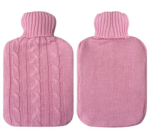 Attmu Classic Rubber Transparent Hot Water Bottle 2 Liter with Knit Cover - Pink