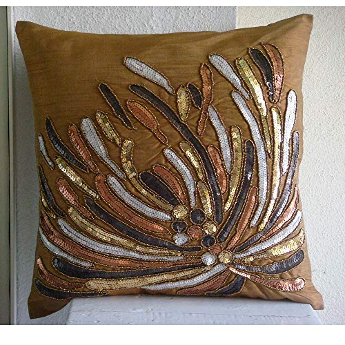 The HomeCentric Designer Gold Throw Pillow Covers, Modern Floral Throw Pillow Covers, 12
