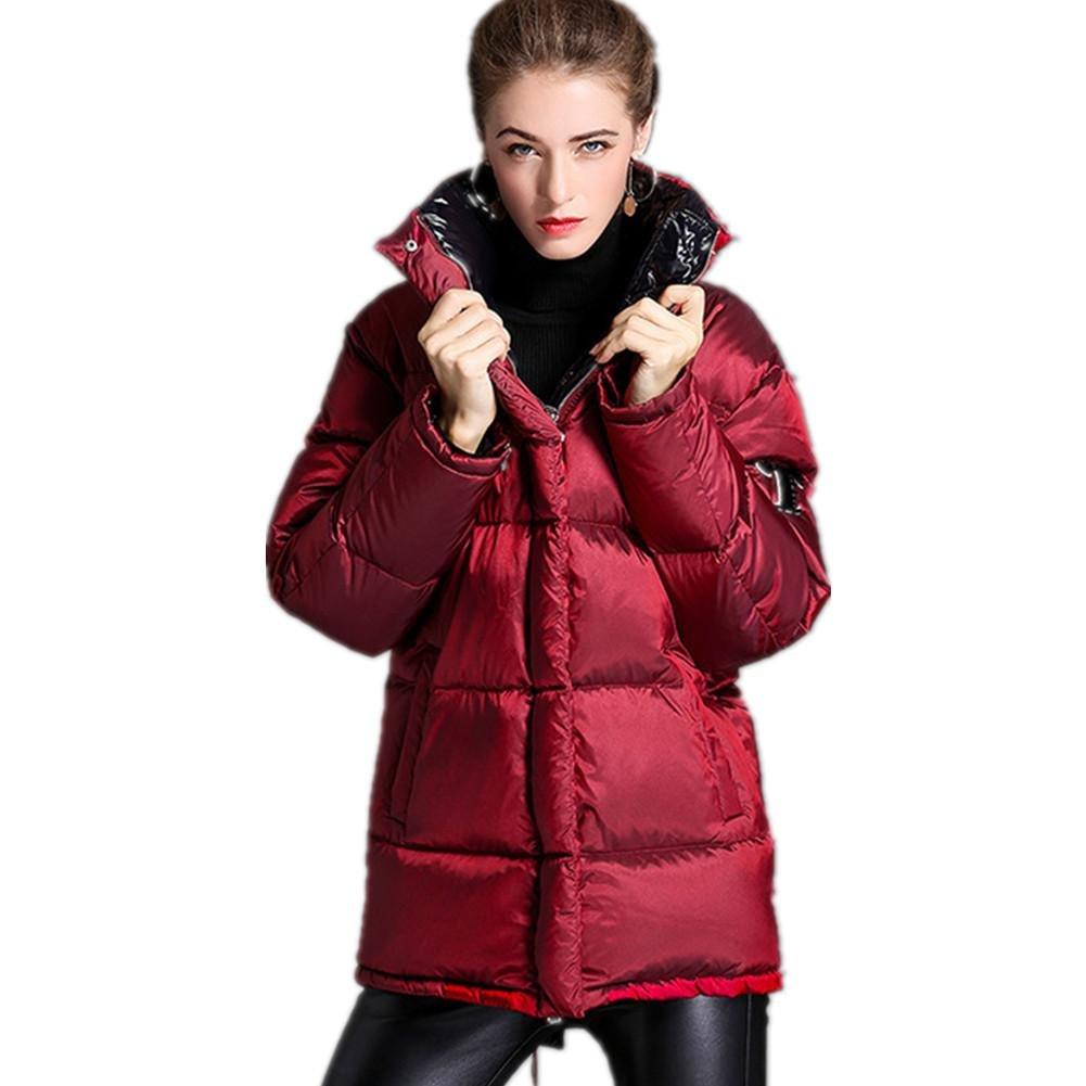 SHISHANG Estilo nuevo de las mujeres de otoño e invierno espesamiento hacia abajo Gacket cuello largo soporte delgado capa de moda 90% vino abajo rojo