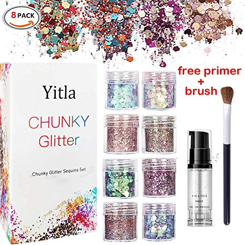 - Body Glitter,8 Colors Holographic Chunky Glitter Festival Glitter Cosmetic for Body Face Nail Hair Eyes - Includes Free Fix Primer + Eyeshadow Brushes (8 Colors Set)