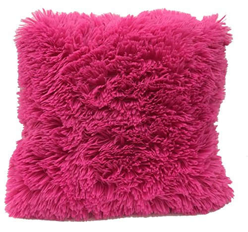 LuxuryDiscounts Super Soft Faux Fur Decorative Filled Throw Pillow Cushion Available in Multiple Colors (16