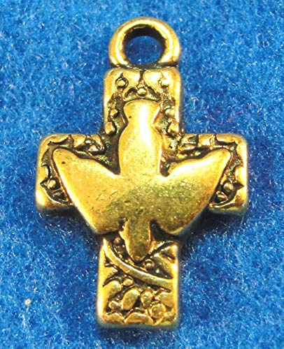 (10Pcs. Tibetan Antique Gold Cross with Dove Charms Pendant Earring Drops CR116 Crafting Key Chain Bracelet Necklace Jewelry Accessories Pendants)