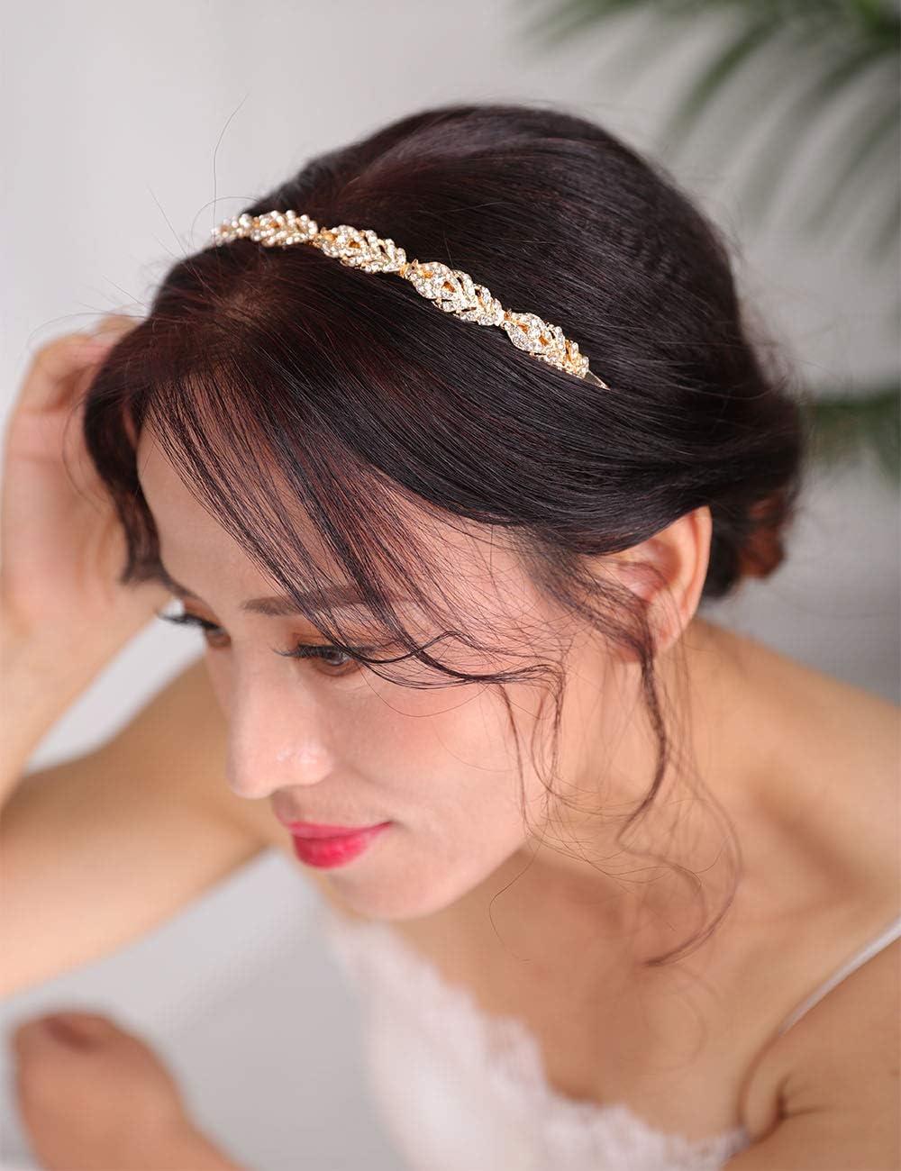 or et or rose bandeau couronne accessoire cheveux pour femme Deniferymakeup Diad/ème en strass argent