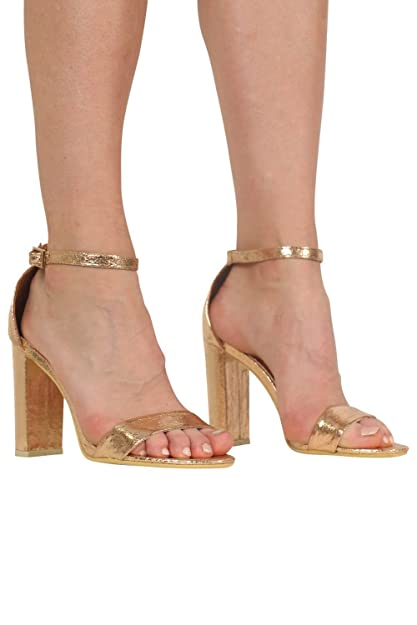 72d73061fe5 PILOT® Women s Block Heel Barely There Strappy Sandals in Rose Gold Shoe 5
