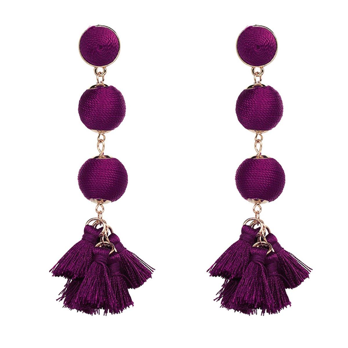 FIFATA Ball Dangle Tassel Earrings, Hula Style Drop Long Dangling Colorized Thread Earrings