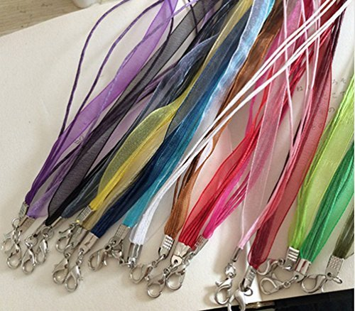 Ribbon 18' Necklace - HYBEADS 20pcs 18'' Mixed Silk Organza Ribbon Necklace Strap Cord Chain