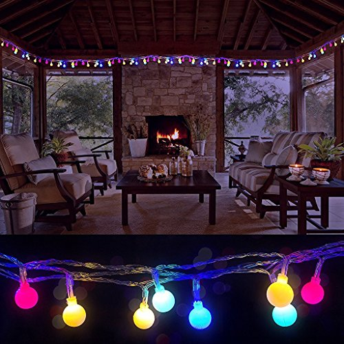 100 LED Globe String Lights, Ball Christmas Lights, Indoor / Outdoor Decorative Light, USB Powered, 39 Ft, Multicolor Light - for Patio Garden Party Xmas Tree Wedding Decoration (Outside Dining Ideas)
