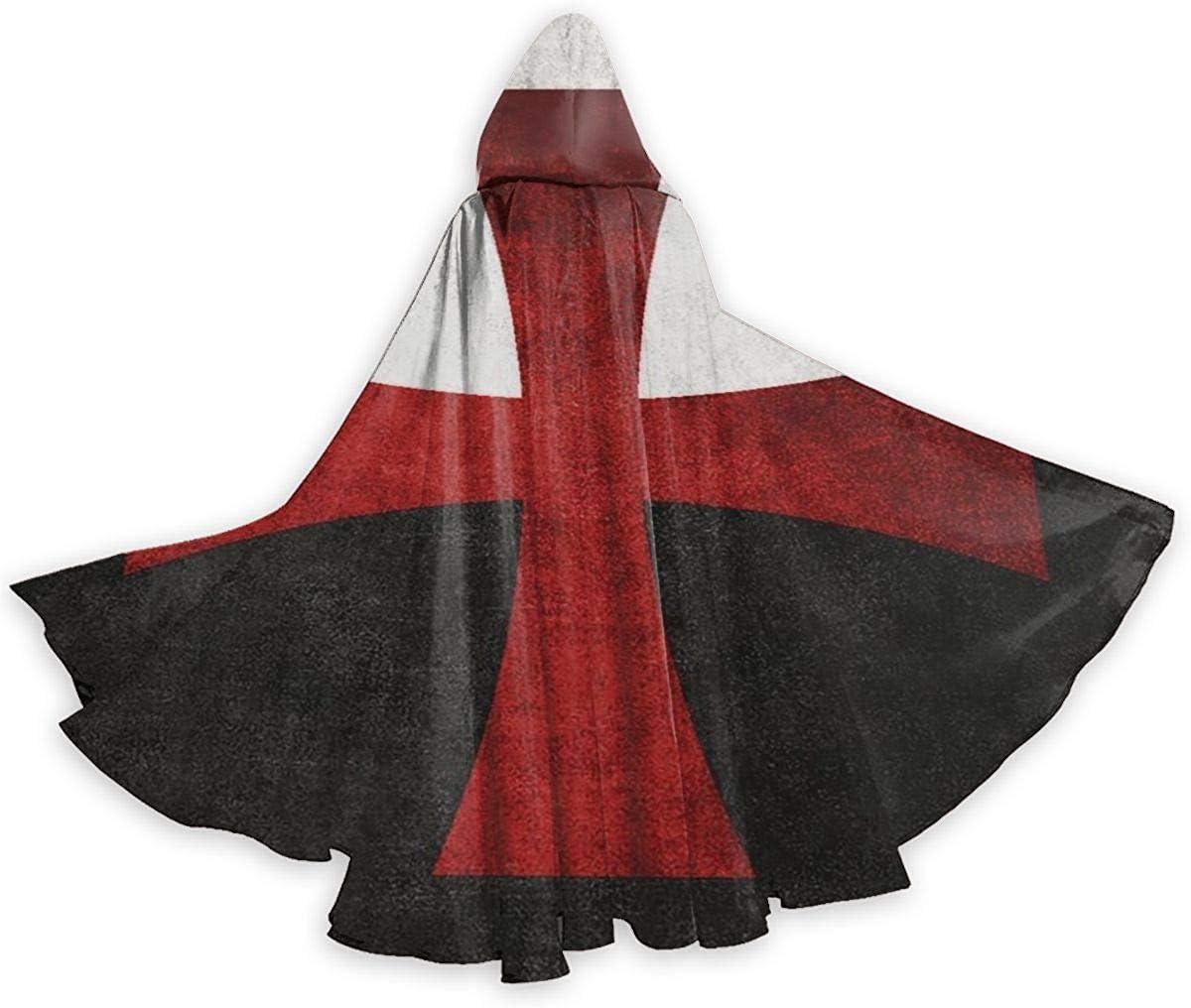 remmber me Cruz de Hierro Rojo Patrón Vintage Capa de Halloween Capa con Capucha Elegante con cordón Adulto Fresco Traje de Bruja Capa Extra Larga para Fiesta 59x15.8 Pulgadas