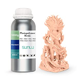 3D Printer Resin, SUNLU 3D Rapid Resin LCD UV-Curing Resin 405nm Standard Photopolymer Resin for LCD 3D Printing, Excellent Fluidity, 1000g Skin