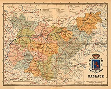 Map Of Spain Extremadura.Amazon Com Badajoz Merida Extremadura Mapa Antiguo De La