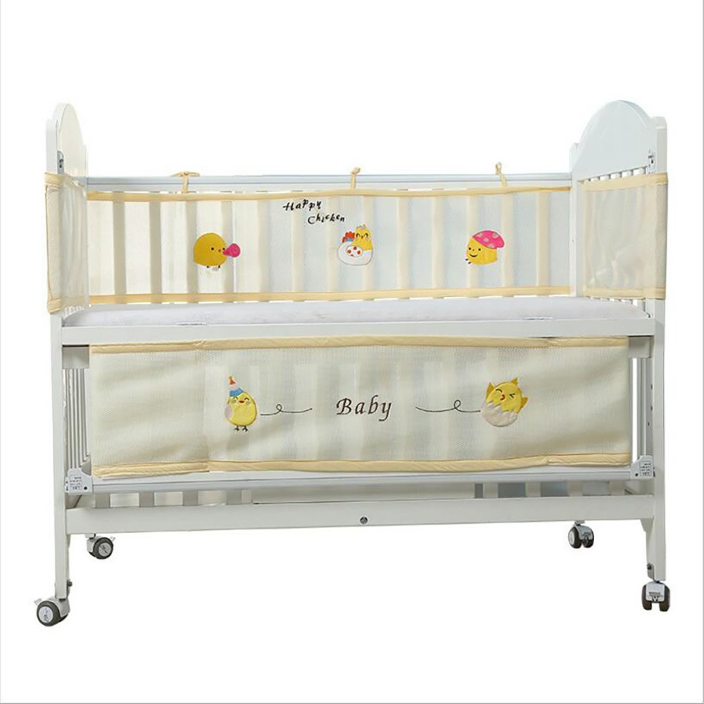 "Neato Tek Cute Animal Breathable Crib Bumper Pads for Standard Crib Slats(Baby Boys & Girls), 114x11""/63x11""- Premium Woven Cotton and Microfiber Fill-in Padded Crib Liner, Yellow"