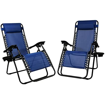 Yanni Outdoor/ Beach Zero Gravity Chair Blue Lounge Patio Chair With Pillow  And Cup/