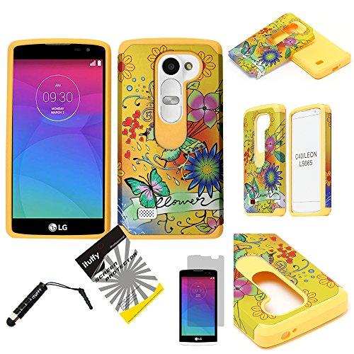 For LG Tribute2 LS665/LG Tribute Duo/LG RISIO/ LG Leon H320 /LG Power /LG Destiny /LG Sunset ITUFFY (TM) 3items Combo: Screen Protector + Stylus Pen + Hybrid Armor Tuff Case (Yellow Butterfly Flower) ()