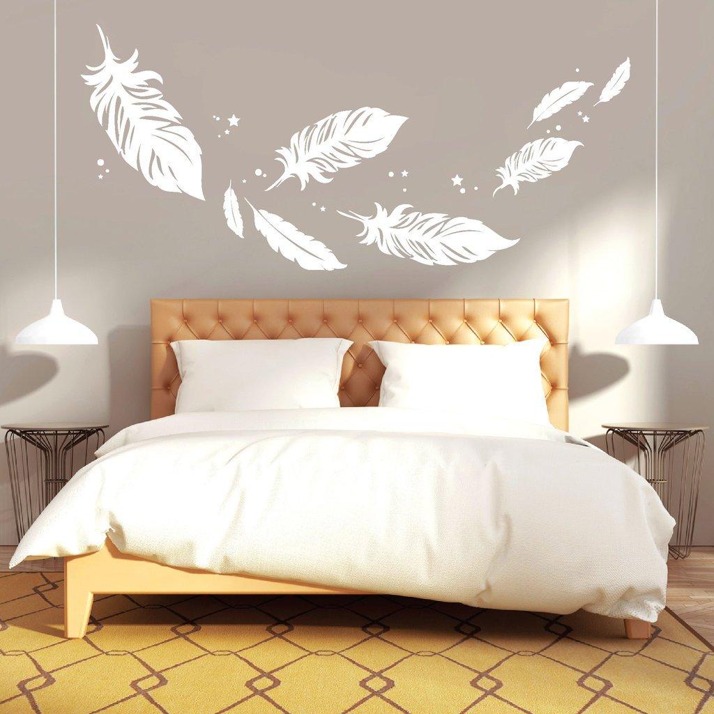 Wandtattoo Loft  Federn  zum zum zum Träumen schön    Feder   Schlafzimmer   Wandsticker   Wandtattoo   Wandaufkleber   54 Farben   3 Größen   weiß   55 cm hoch x 123 cm breit B01LASYMAE Wandtattoos & Wandbilder dd9e8b