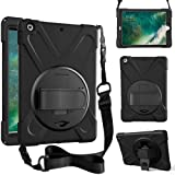 ZenRich iPad 5th/6th Generation Case, iPad 9.7 Case 2017/2018 with Rotatable Kickstand,Hand Strap and Shoulder Strap zenrich