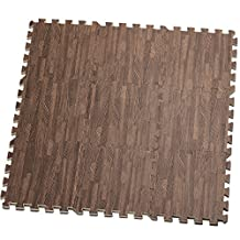 HemingWeigh Printed Wood Grain Interlocking Foam Anti Fatigue Floor Puzzle Mats - Makes a Superior Fitness, workout and exercise mat. Classic Wood Grain Design; Thick, Durable & Safe for all Ages- Set of 9 Tiles - Each Tile Measures 1 Square Foot
