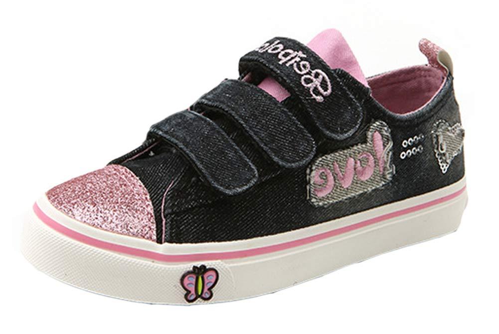 iDuoDuo Girl Princess Twinkle Toes Triple Straps Outdoor School Canvas Shoe Dark Blue 12 M US Little Kid