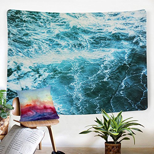 Sunm boutique Wall Tapestry Blue Ocean Wave Tapestry Sea Wall Hanging Tapestry Wall Art Decor Tablecloth (Spray,51.2