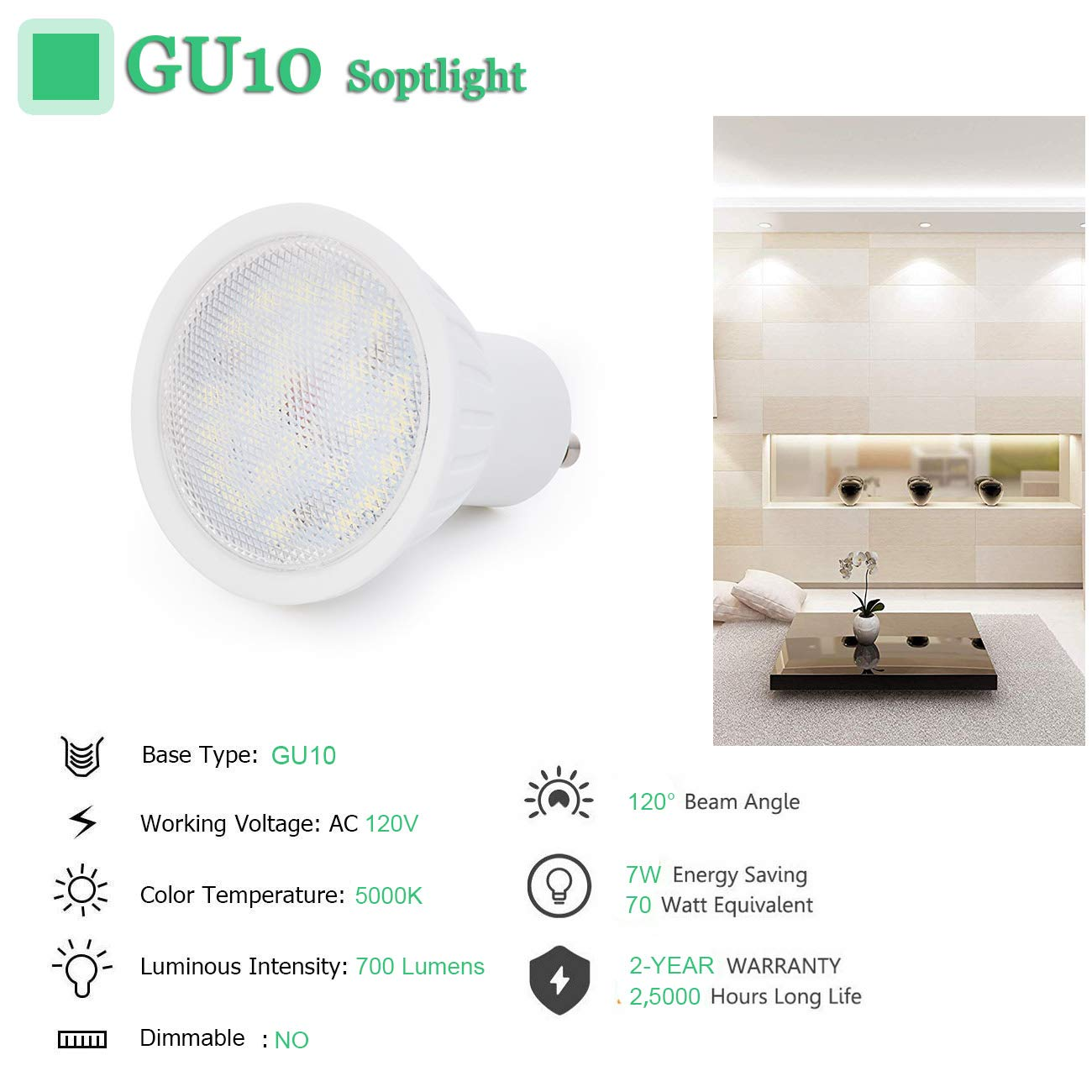6 Pack 120°Beam Angle 7W GU10 LED Bulb 70W Halogen Bulbs Replacement 700lumens 5000K Daynight White CRI85+ Non Dimmable 120V Bombilla Light Bulb for ...